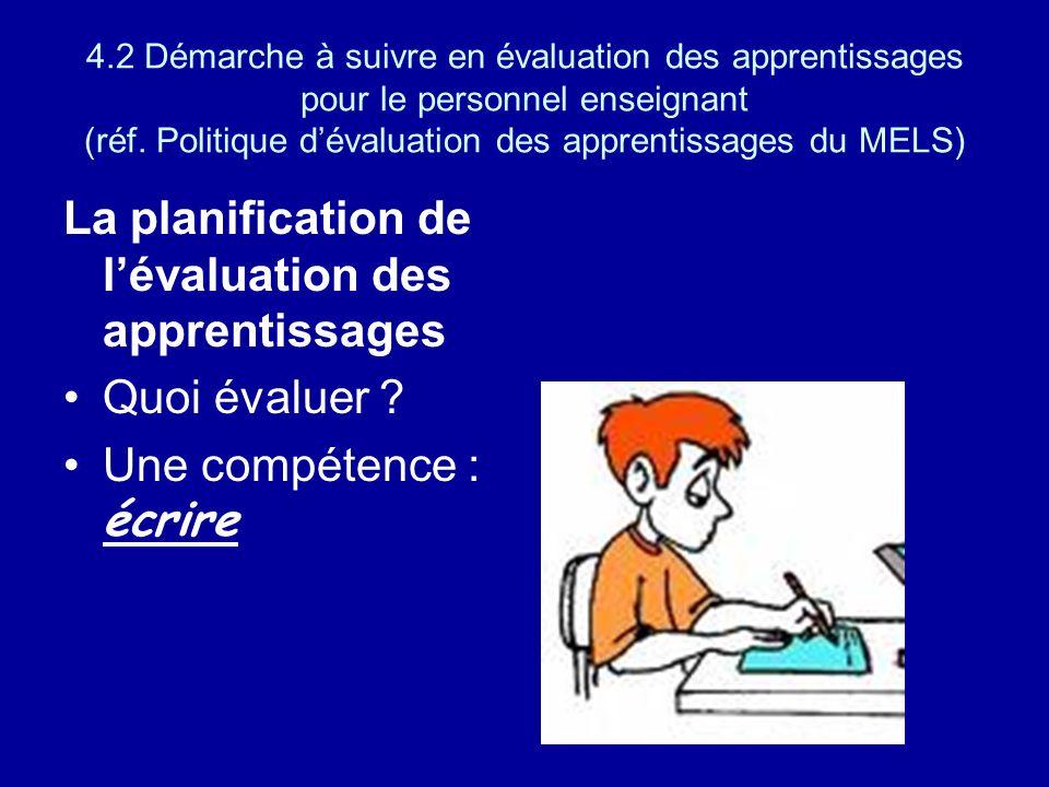 La planification de l'évaluation des apprentissages
