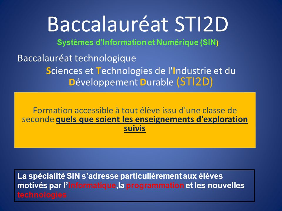 Systèmes d Information et Numérique (SIN)