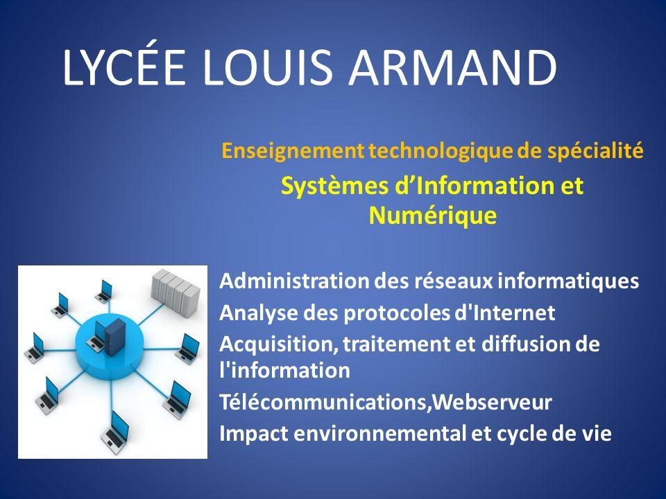LYCÉE LOUIS ARMAND Systèmes d'Information et Numérique
