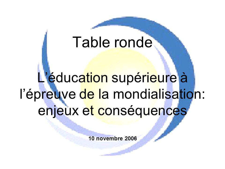 Table ronde L'éducation supérieure à l'épreuve de la mondialisation: enjeux et conséquences 10 novembre 2006