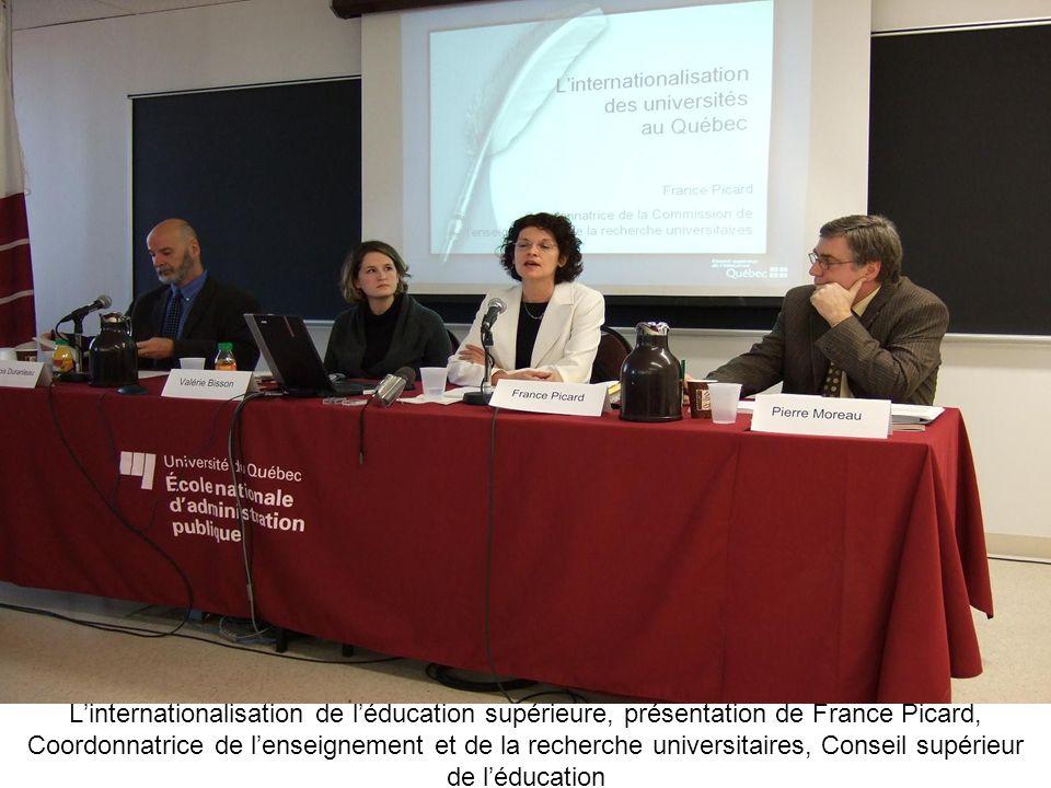 L'internationalisation de l'éducation supérieure, présentation de France Picard, Coordonnatrice de l'enseignement et de la recherche universitaires, Conseil supérieur de l'éducation