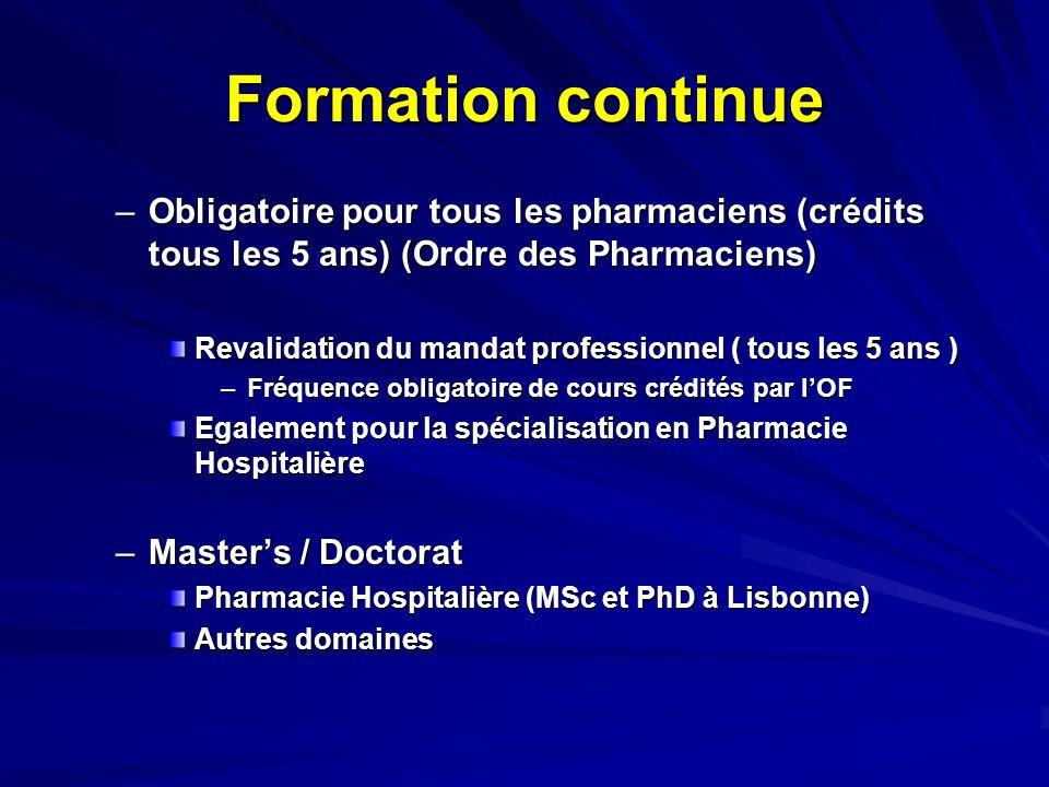 Formation continue Obligatoire pour tous les pharmaciens (crédits tous les 5 ans) (Ordre des Pharmaciens)