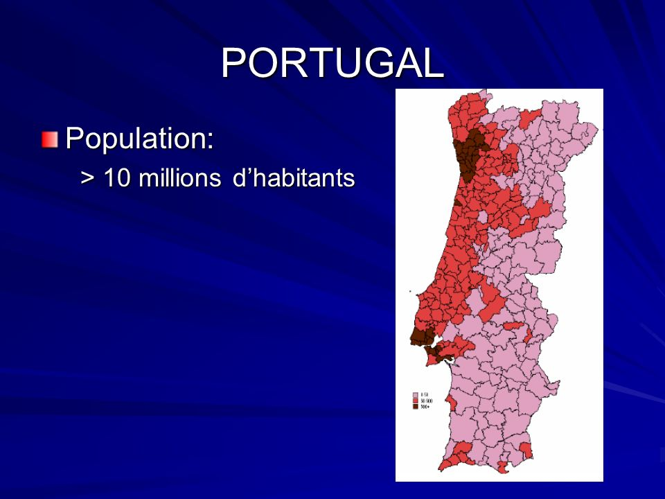 PORTUGAL Population: > 10 millions d'habitants