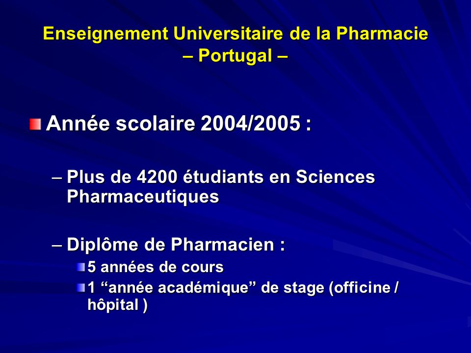 Enseignement Universitaire de la Pharmacie – Portugal –