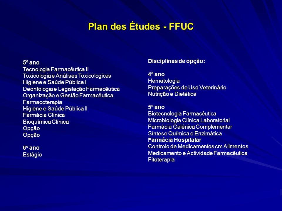 Plan des Études - FFUC Disciplinas de opção: 5º ano