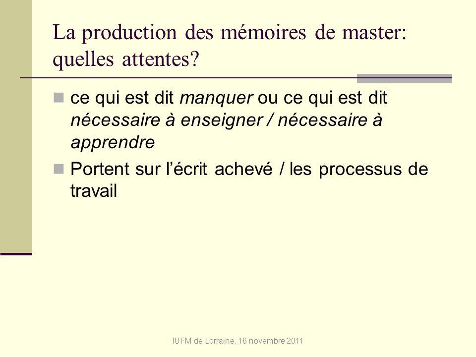 La production des mémoires de master: quelles attentes