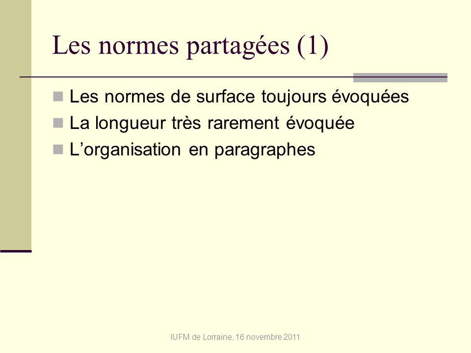 Les normes partagées (1)