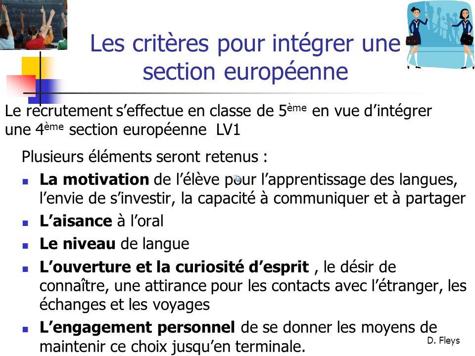 Les critères pour intégrer une section européenne
