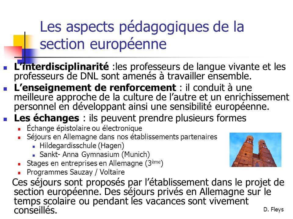 Les aspects pédagogiques de la section européenne