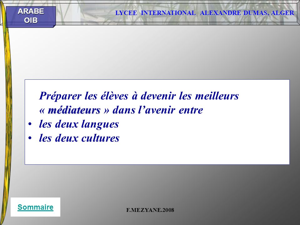 « médiateurs » dans l'avenir entre les deux langues les deux cultures