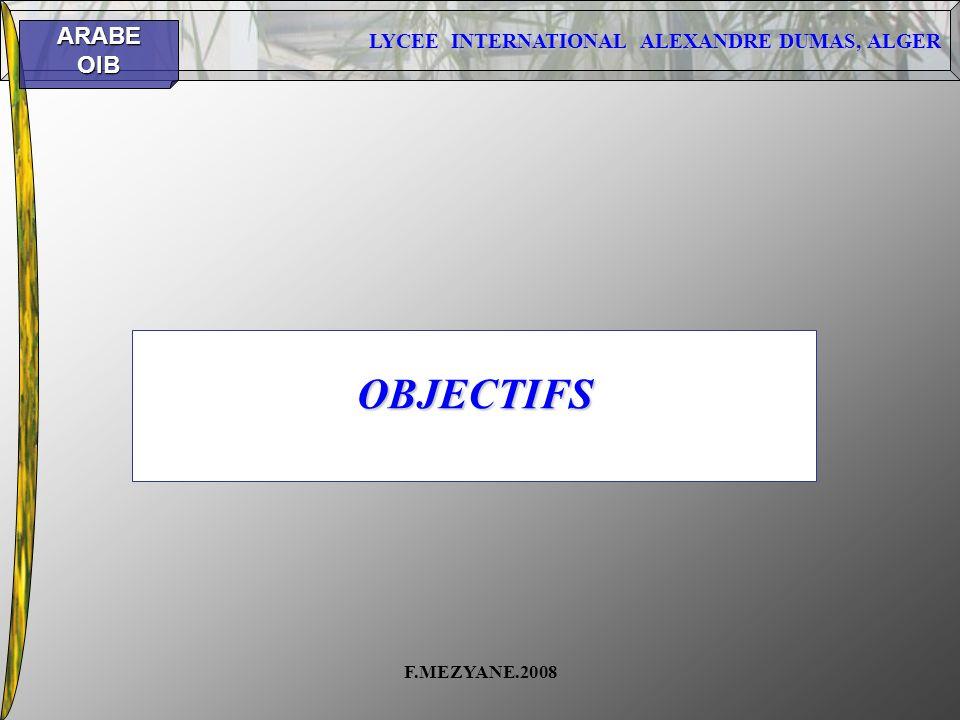OBJECTIFS F.MEZYANE.2008
