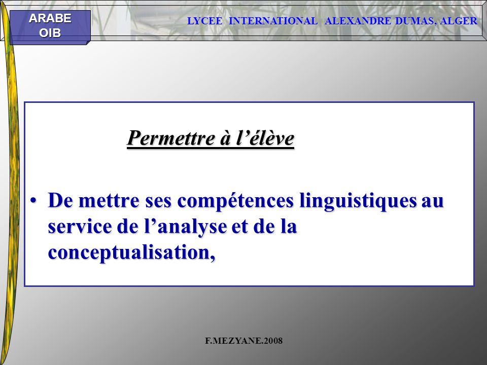 Permettre à l'élève De mettre ses compétences linguistiques au service de l'analyse et de la conceptualisation,