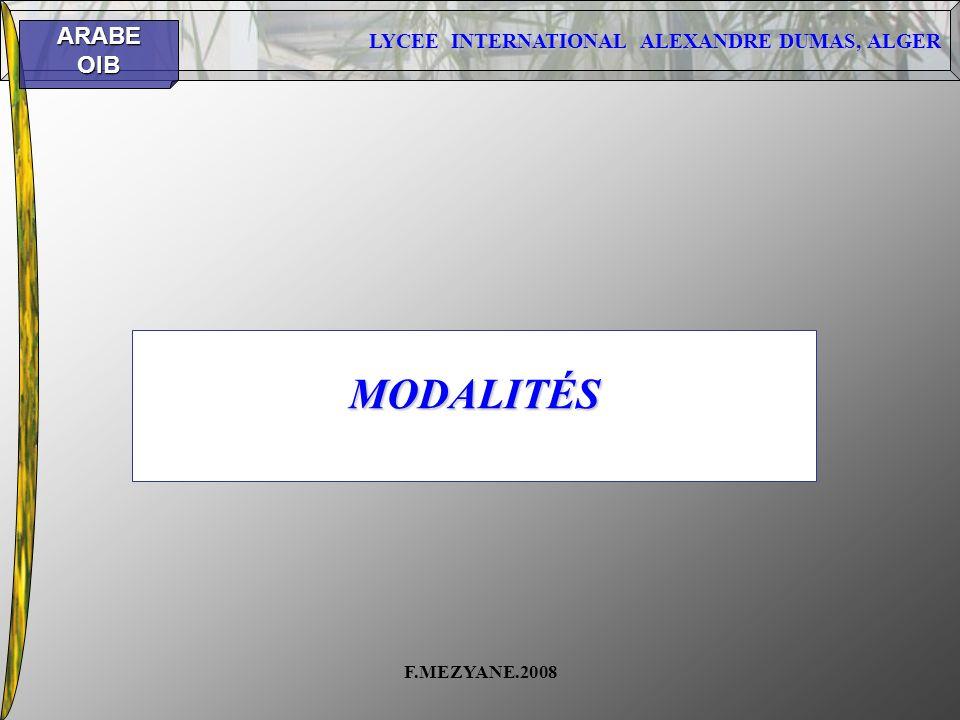 MODALITÉS F.MEZYANE.2008