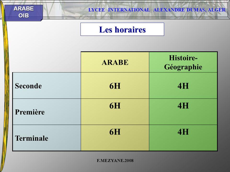 Les horaires 6H 4H Histoire-Géographie ARABE Seconde Première