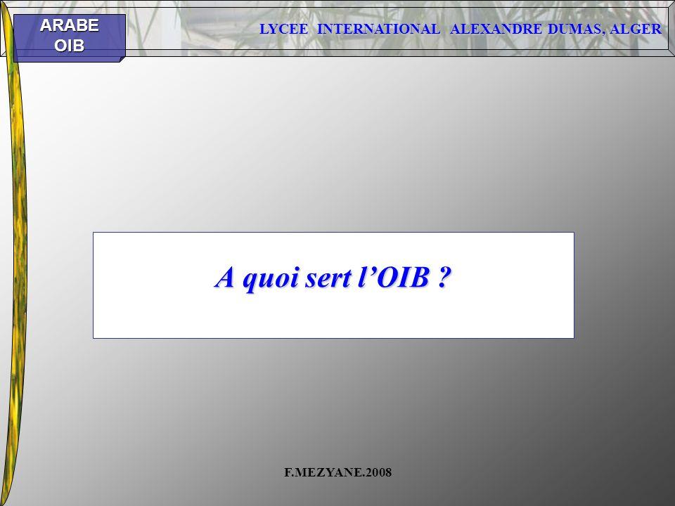 A quoi sert l'OIB F.MEZYANE.2008