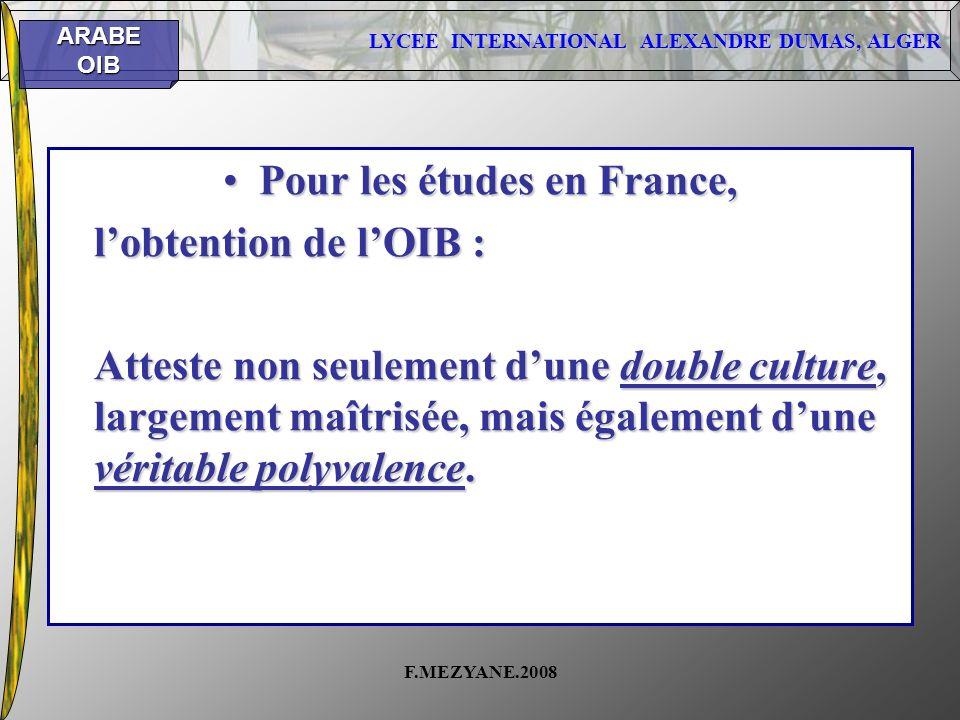 Pour les études en France,