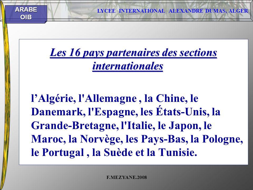 Les 16 pays partenaires des sections internationales