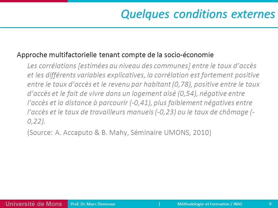 Quelques conditions externes