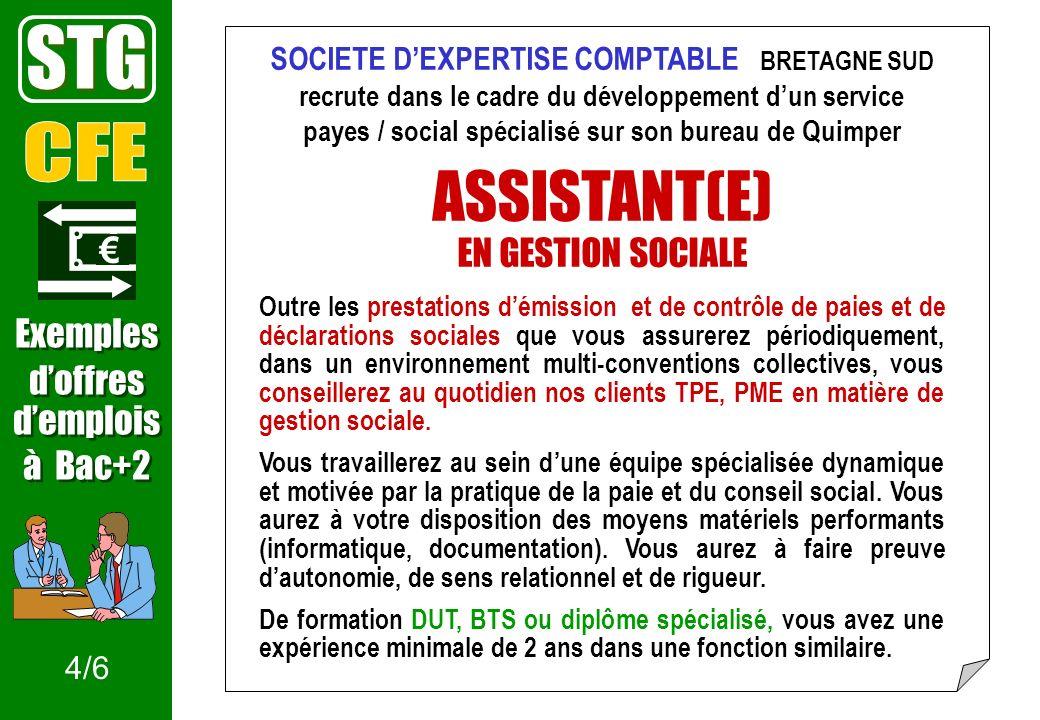 STG ASSISTANT(E) CFE EN GESTION SOCIALE € Exemples d'offres d'emplois