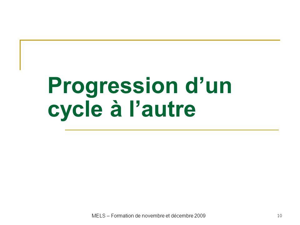 Progression d'un cycle à l'autre