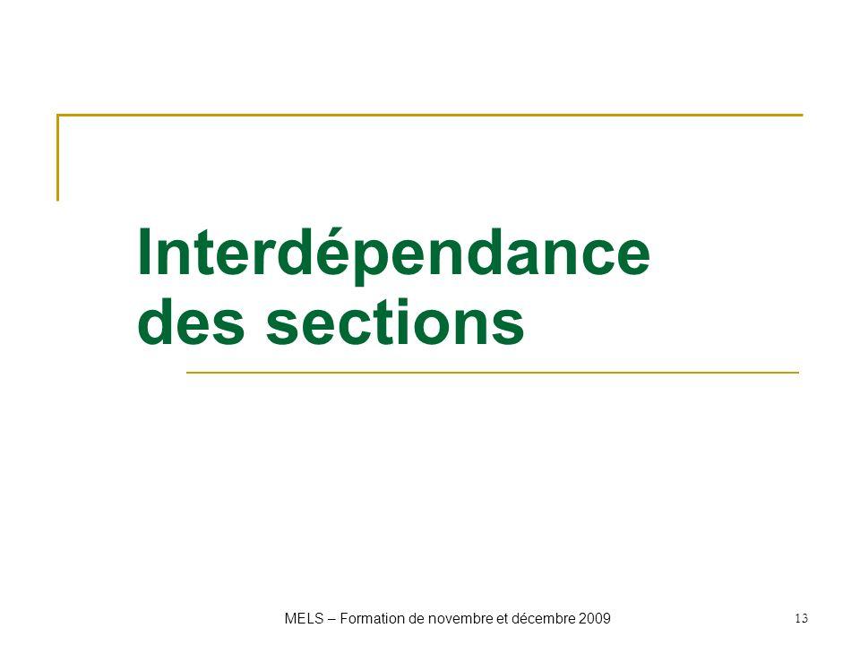 Interdépendance des sections