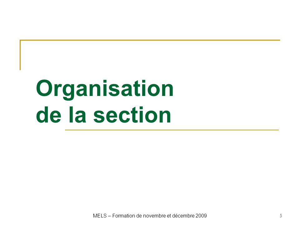 Organisation de la section