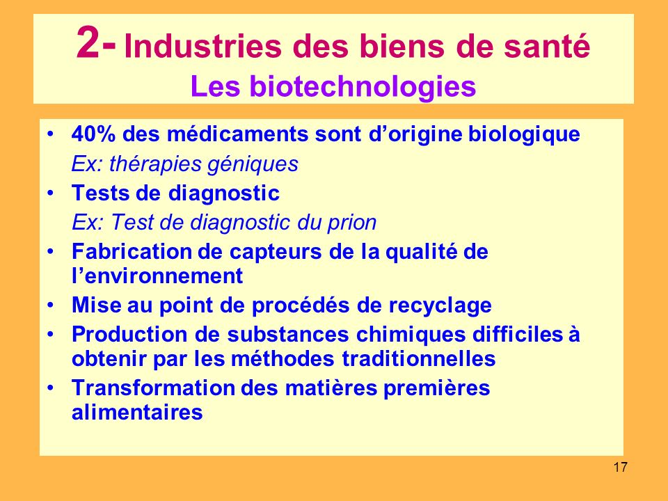 2- Industries des biens de santé Les biotechnologies