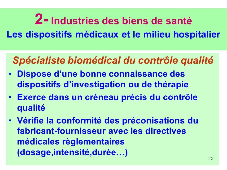 Spécialiste biomédical du contrôle qualité