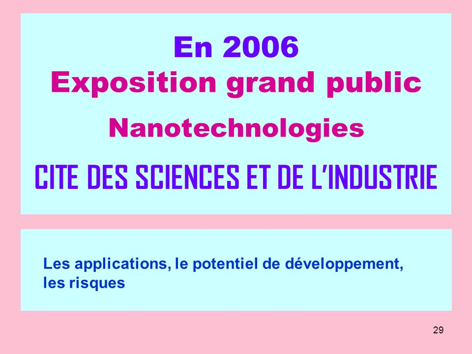 En 2006 Exposition grand public Nanotechnologies CITE DES SCIENCES ET DE L'INDUSTRIE