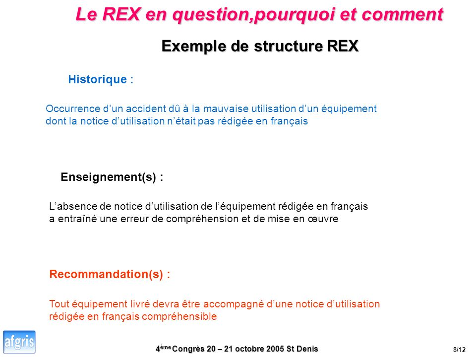 Le REX en question,pourquoi et comment Exemple de structure REX