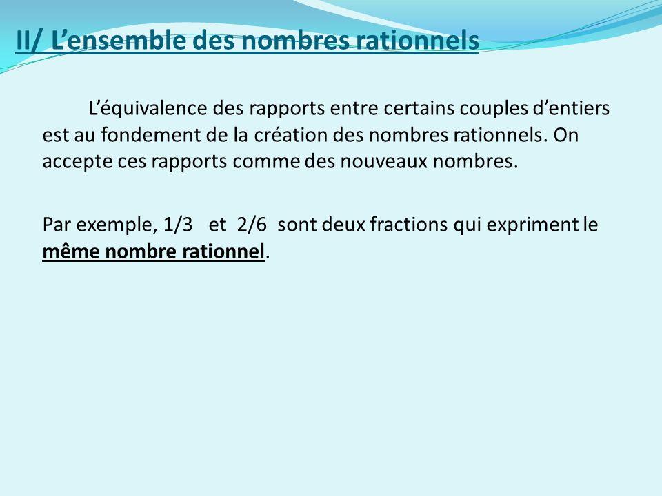 II/ L'ensemble des nombres rationnels