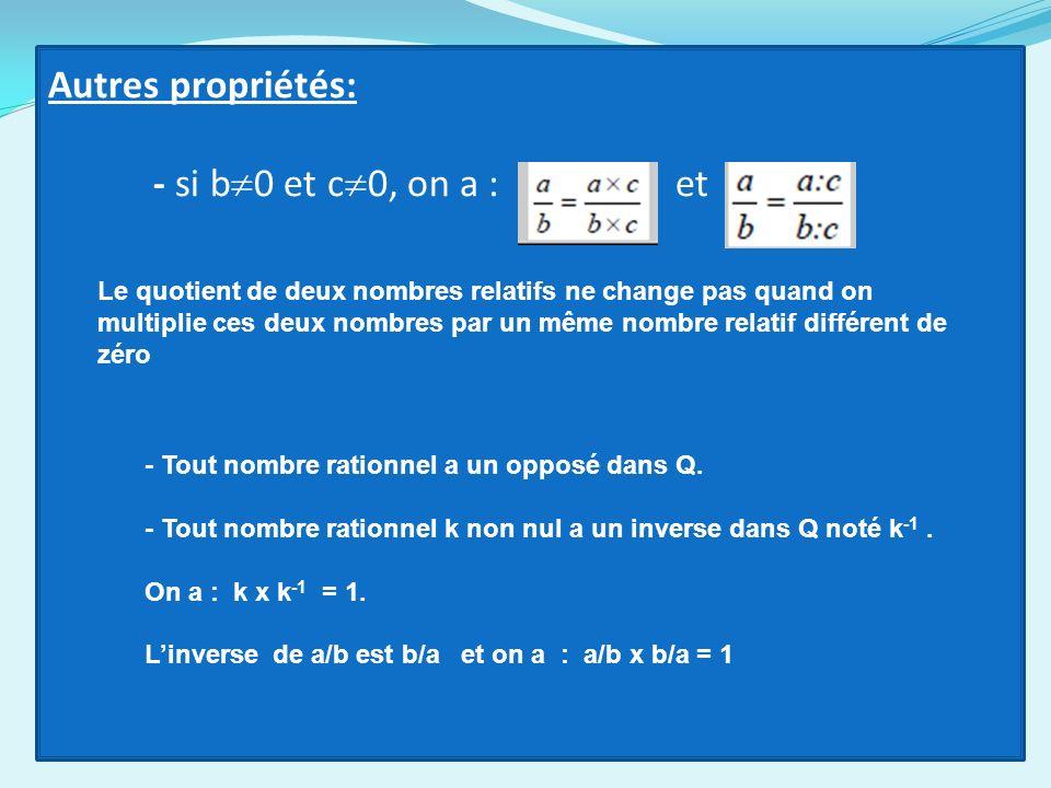 Autres propriétés: - si b0 et c0, on a : et