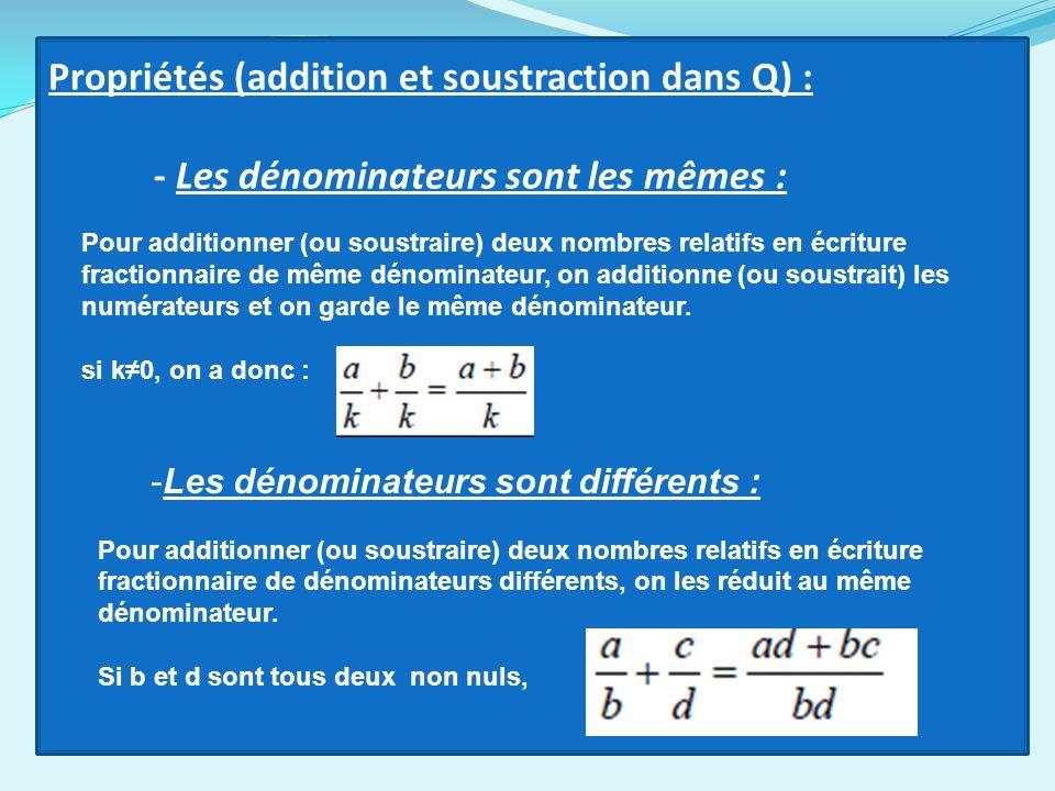 Propriétés (addition et soustraction dans Q) :