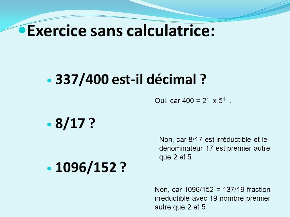 Exercice sans calculatrice:
