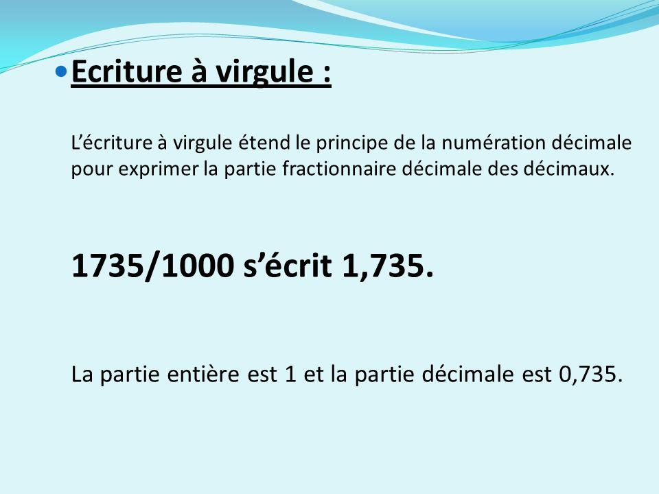 La partie entière est 1 et la partie décimale est 0,735.