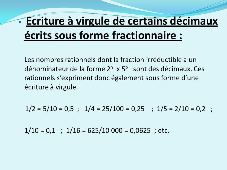 Ecriture à virgule de certains décimaux écrits sous forme fractionnaire :