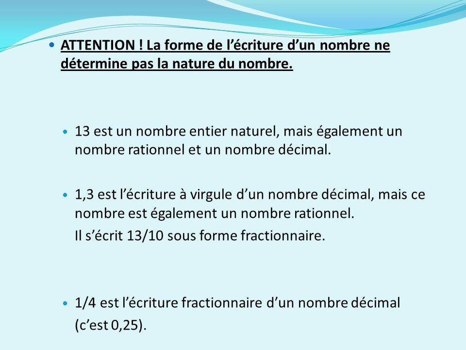 ATTENTION ! La forme de l'écriture d'un nombre ne détermine pas la nature du nombre.