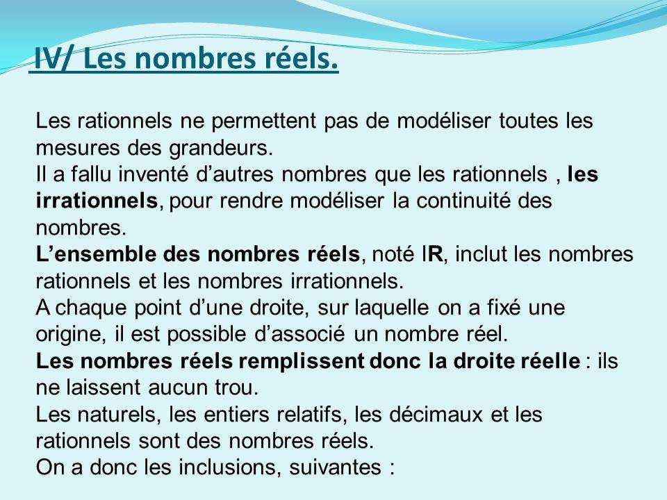 IV/ Les nombres réels. Les rationnels ne permettent pas de modéliser toutes les mesures des grandeurs.