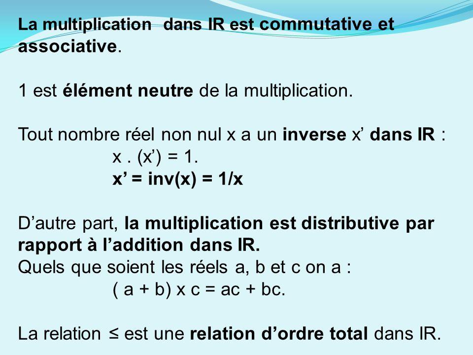 1 est élément neutre de la multiplication.