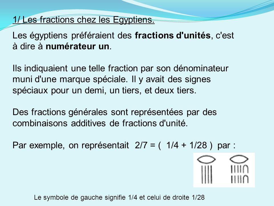 1/ Les fractions chez les Egyptiens.