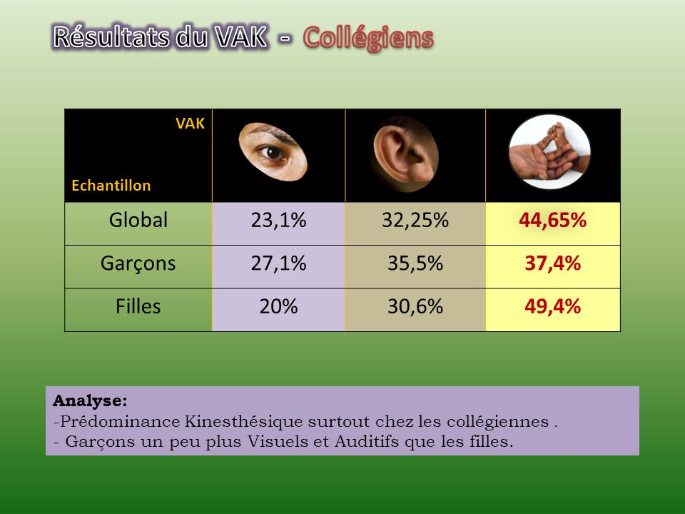 Résultats du VAK - Collégiens