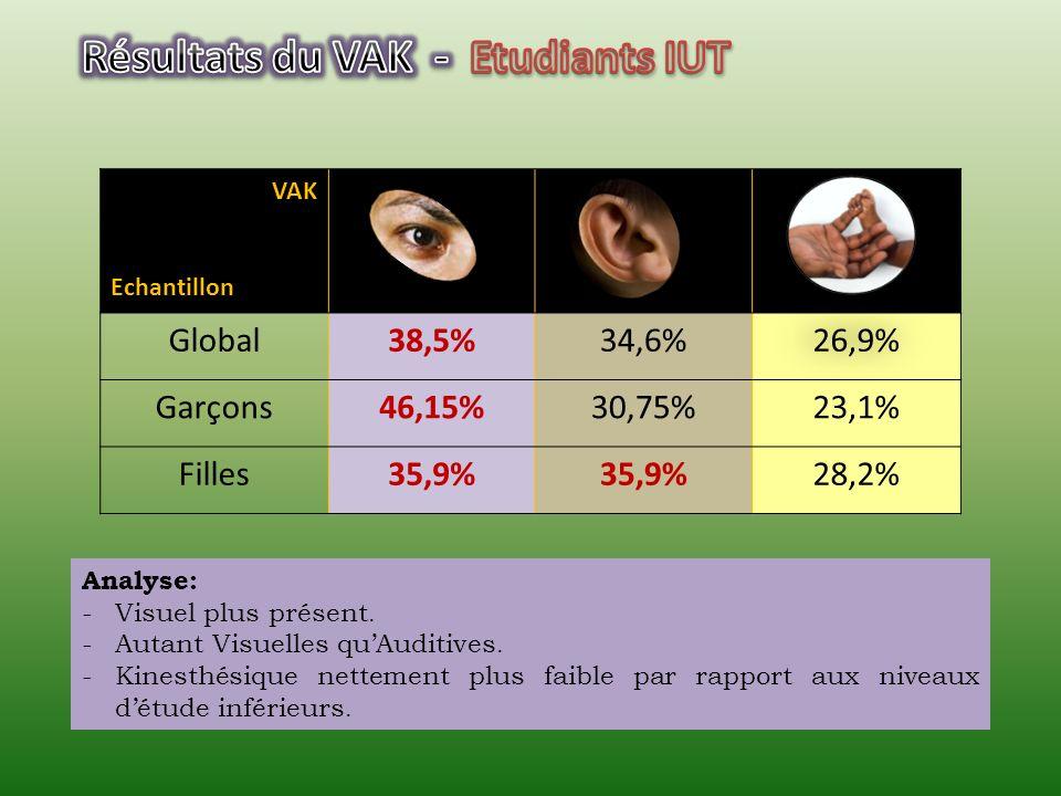 Résultats du VAK - Etudiants IUT