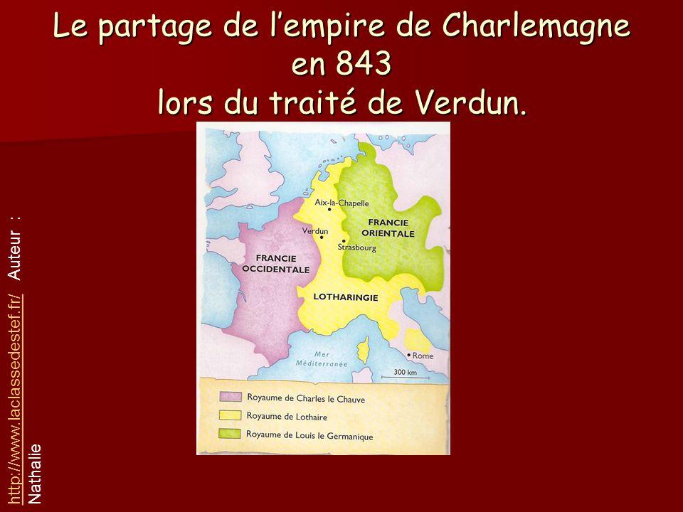 Le partage de l'empire de Charlemagne en 843 lors du traité de Verdun.