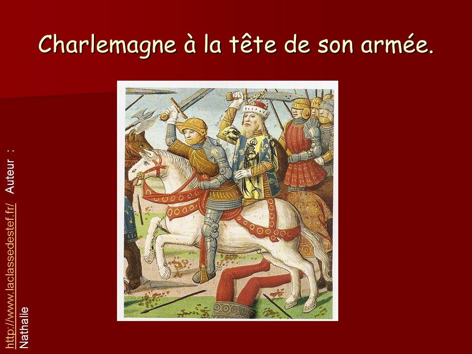 Charlemagne à la tête de son armée.