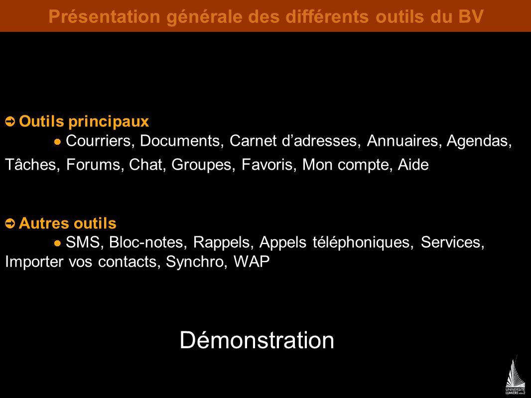 Présentation générale des différents outils du BV