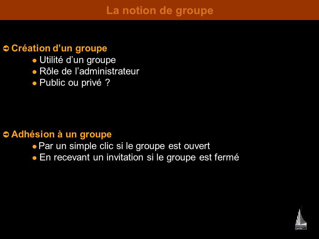 La notion de groupe  Utilité d'un groupe  Rôle de l'administrateur