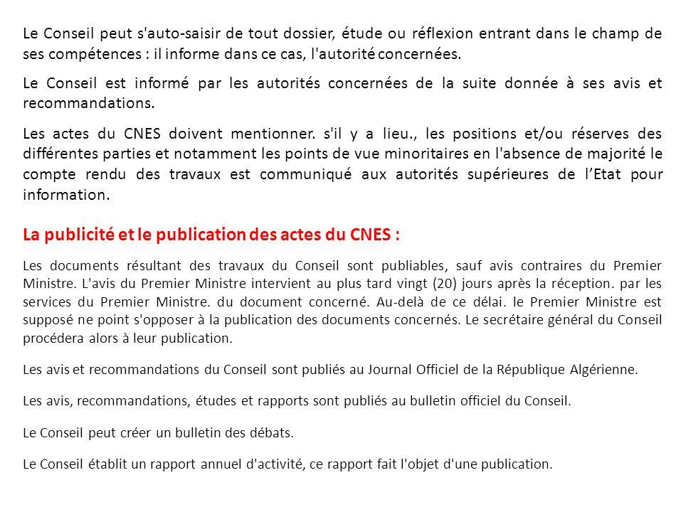 La publicité et le publication des actes du CNES :