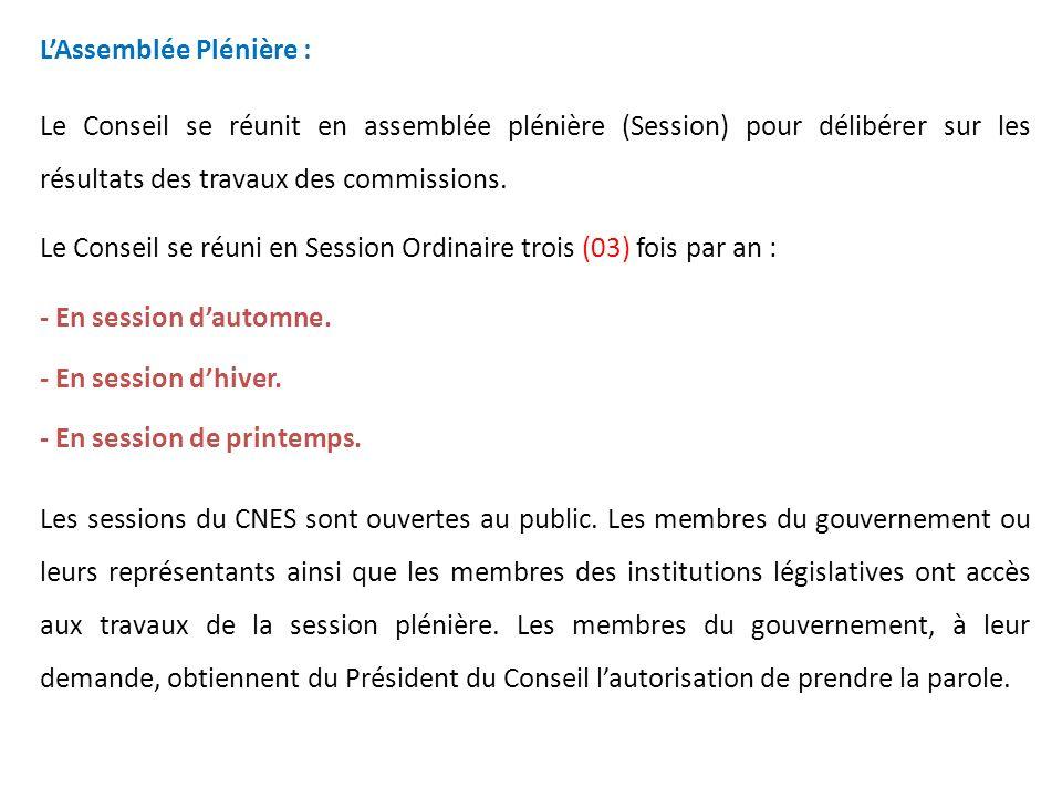 L'Assemblée Plénière :