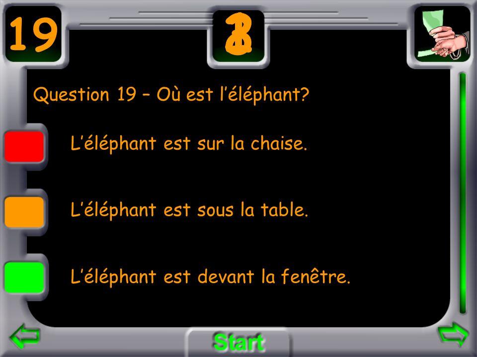 Question 19 – Où est l'éléphant