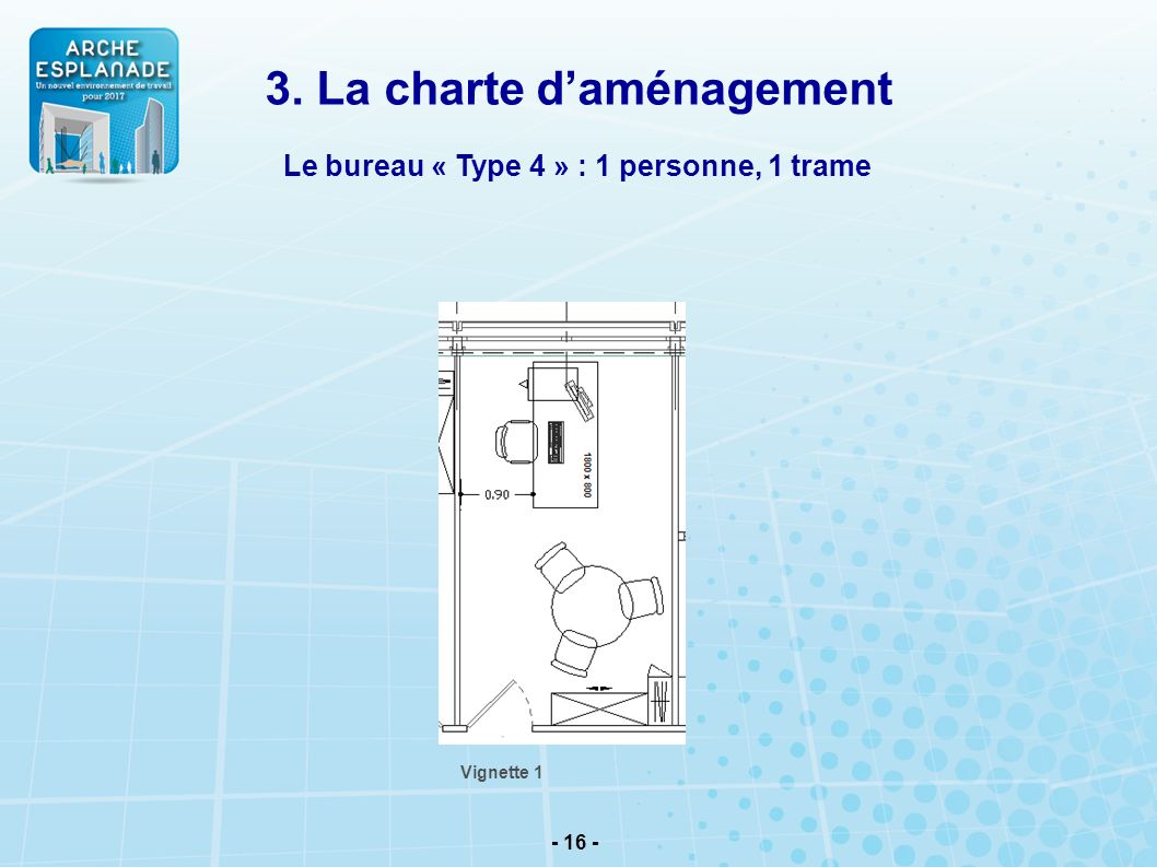 3. La charte d'aménagement Le bureau « Type 4 » : 1 personne, 1 trame